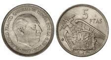 ESPAÑA: 5 Pesetas FRANCO 1957 estrella 75 S/C de cartucho (año 1975)