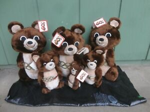 LOT OF 6 VINTAGE DAKIN MISHA PLUSH BEARS 1980 MOSCOW USSR OLYMPIC GAMES