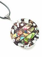 necklace Orgonite Jasper pendant Rainbow sea sediments, energy protection.