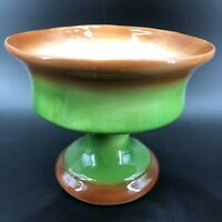 "Vintage Green & Brown Pottery Footed Pedestal Ceramic Mid Century Planter 6""X7"""