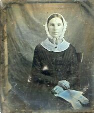 SIGNED  DAGUERREOTYPE -L.B.  Binsse NY - LADY RIBBON CANDY BONNET with LETTER