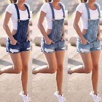 Damen Denim Latzhose Latzjeans Kurze Hose Jeans Shorts Sommer Overall Jumpsuit