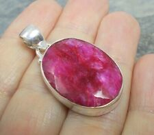 Chunky 925 Silver Cut RUBY Pendant P839~Silverwave*uk Jewellery