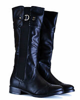 WOMENS BOOTS LADIES KNEE HIGH NEW BLACK FLAT HEEL WINTER SHOES SIZE 3,4,5,6,7