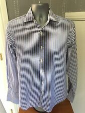 T M LEWIN Mens Shirt 15.5 Collar Smart Formal Stripe 2 Fold Lewin 100