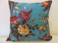 Liberty Arts Lady Kristina Floral Turquoise linen & Velvet Fabric Cushion Cover