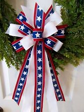JULY 4TH BOW RED WHITE BLUE BOW PATRIOTIC BOW WREATH BOW