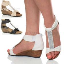 Sandalias con plataforma de mujer de tacón medio (2,5-7,5 cm) de piel sintética