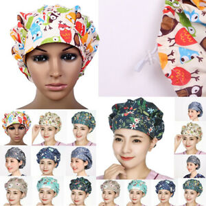 Scrub Cap Cotton Adjustable Head Cover Printing Work Accessories Head Wear New