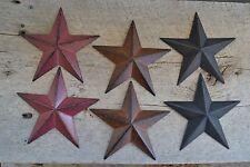 "Set of 6 ~ 5.5"" Burgundy Rusty Black Barn Stars Metal Primitive Country 5 1/2"""