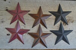 Set of 3  Distressed BARN STARS Metal Tin  Primitive Country