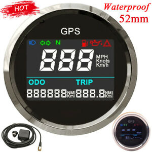 52mm Boat Motorcycle GPS Speedometer Digital LCD Odometer 0~999 MPH Speed Gauge