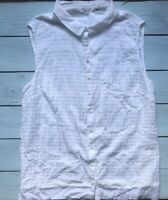 White Stuff Embroidered Sleeveless Button Up Shirt Top 16 - B7