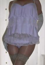 Beautiful layered lacy purple camisole~chemise~babydoll & panties set Uk size 10