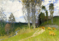 Art Oil painting beautiful landscape with cows eating grass Hand painted