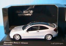 MERCEDES C CLASS 2000 SPORT COUPE CL203 SILVER METALLIC MINICHAMPS 430 030002