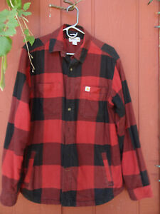 CARHARTT Relaxed Fit Flannel Red Plaid Lined Shirt Jacket Men's Size M No damage