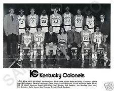 1973-74 KENTUCKY COLONELS ABA BASKETBALL TEAM 8X10 PHOTO