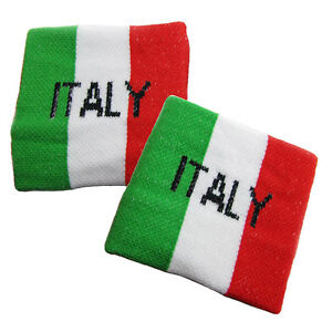 Pair of ITALY Flag Wrist Sweatband Cheering Squad Sports Fans Wristband EURO