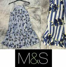 Ex Marks & Spencer M&S dress Blue flower Beach Holiday Wear Lightweight