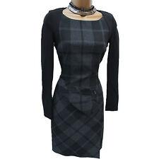 KAREN MILLEN Black Grey Check Tartan Wool Blend Winter Wiggle Pencil Dress UK 10