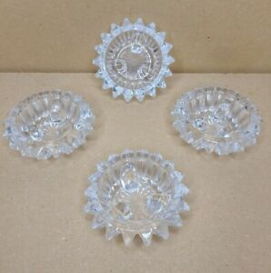 Set of 4 Starburst Crystal Clear Star Shaped Votive/Pillar/Taper Candle Holders