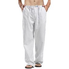 Mens Casual Solid Cotton Linen Baggy Loose Long Pants Yoga Sport Hippy Trouser