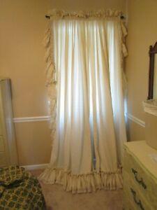"Dorothy's Original Ruffled Curtains 86x96 Ecru 8"" Ruffle 2.5"" Lace 2 Panels Ties"