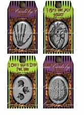 Halloween neon tags 8 or 12 you choose with black silk ribbon