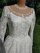 Vintage Lace Satin Wedding Bridal Gown Dress