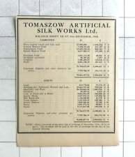 1935 Tomaszow Artificial Silk Works Ltd Balance Sheet Zlotys