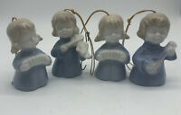 Set Of 4 Vintage Porcelain Christmas Ornaments Angels Musical  Blue White Japan