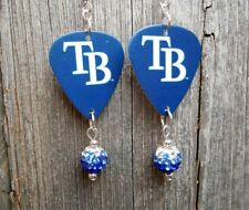 MLB Tampa Bay Rays Guitar Pick Earrings with Ombre Pave Bead Dangles