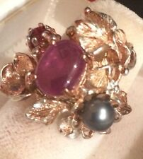 $700 JUMBO NATURAL! 32 X 39 mm. GEM RED RUBY.. PEARL  SILVER RING SZ 7.75