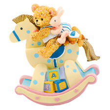 Musical Rocking Horse with Teddy Bear Ornament Christening Gift
