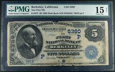RARE Berkeley, Ca $5 First Nat'l Bank of Berkeley 1882 Date Back F-15 CH#(P)5380