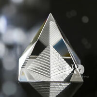 Small Crystal Clear Egypt Egyptian Pyramid Feng Shui Healing Amulet with Giftbox