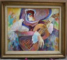 "MAGNIFICENT FRENCH O/C PAINTING SIGNED UKI ""THE GUITAR PLAYER & PIGEONS"""
