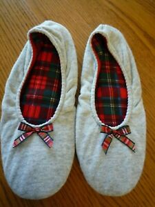 DearFoams Gray Ballet Indoor Slippers Red Plaid Inside & Bow Faux Suede Soles XL