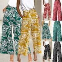 Boho floral loose Women trousers long hight flared office waist casual pants