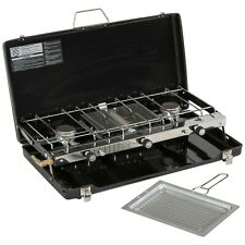 Highlander Folding Double Burner / Grill Gas Camping Stove With Carry Case
