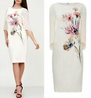 Jacques Vert Floral Wedding Church Party Mother of Bride Cream Midi Dress 8 - 24
