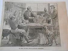 Gravure 1878 - Un diner de Noel chez les mineurs Australiens