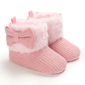 Newborn Baby Girl Bowknot Crib Shoes Toddler Winter Snow Booties Faux Fur Boots