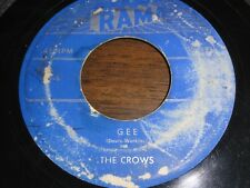 THE CROWS GEE & I LOVE YOU SO 45 RPM RECORD RECORDED IN 1953 ON RAMA RECORDS