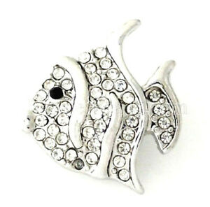 Silver White Fish Rhinestone 20mm Interchangeable Jewelry Fits Ginger Snaps