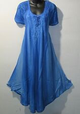 Dress Fits 1X 2X 3X Plus Sundress Blue Lace Sleeves A Shaped Chest Ties G604