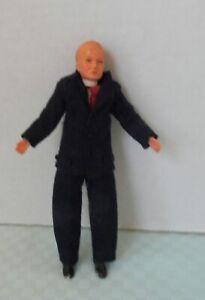 Caco Vintage Dollhouse Doll Man/Father in BlackFelt Suit Metal feet