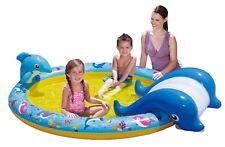 BANZAI Bassin Gonflable Piscine pour enfants baleine avec toboggan 216 x 157 51