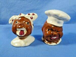 Vintage Figural Salt & Pepper Shakers - Black Chef & Cook - Enesco Japan